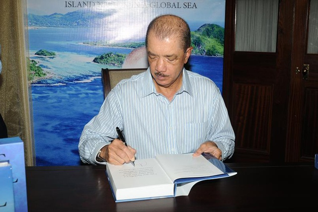 Seychelles President James Michel launches third book