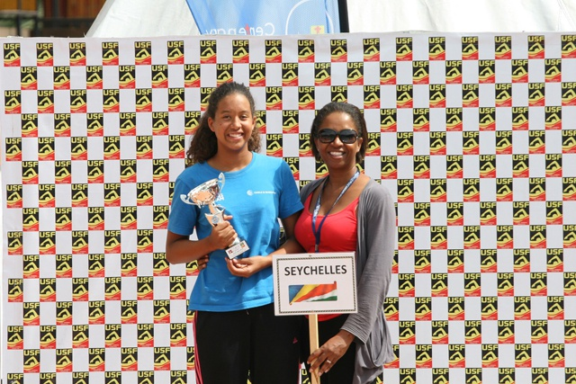 Seychellois swimmer - best in her category at Ugandan championship