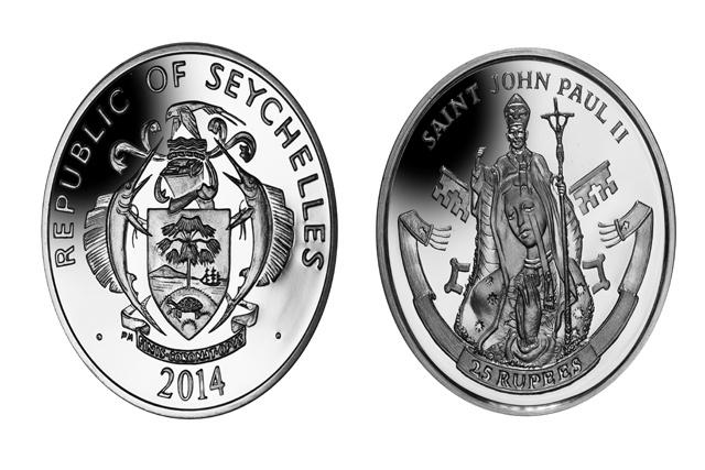 Le Pape Jean-Paul II, immortalisé en pièce de Monnaie des Seychelles