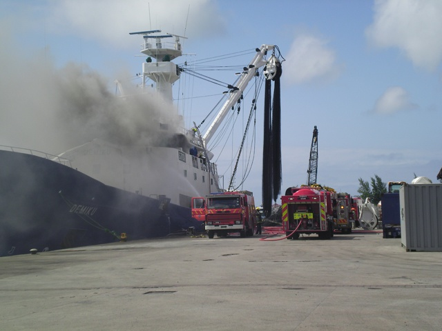 Seychelles Fire services put out fire on Spanish fishing vessel docked in Port Victoria