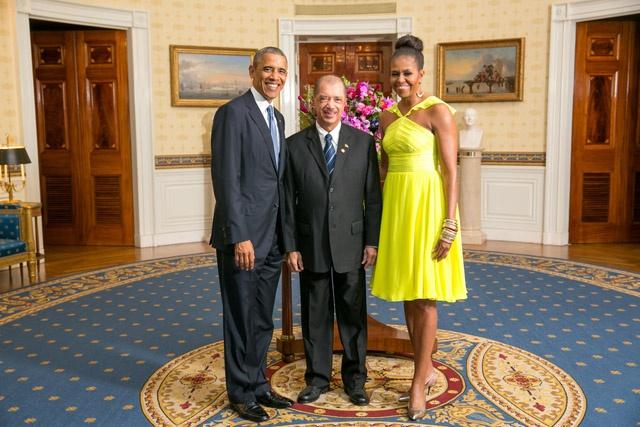 Barack Obama reçoit le président des Seychelles James Michel au dîner du sommet des dirigeants US -Afrique à la Maison-Blanche