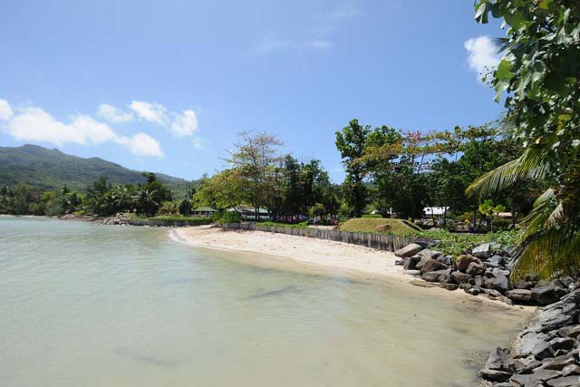 Anse La Mouche beach erosion stopped- Seychelles island restored coastline becomes recreational park