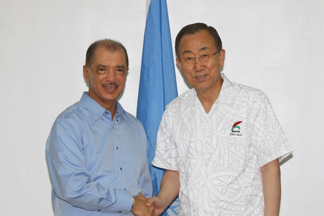 UN agencies will be mobilized to implement recommendations from SIDS conference, says UNSG Ban Ki-Moon during meeting with Seychelles President in Samoa