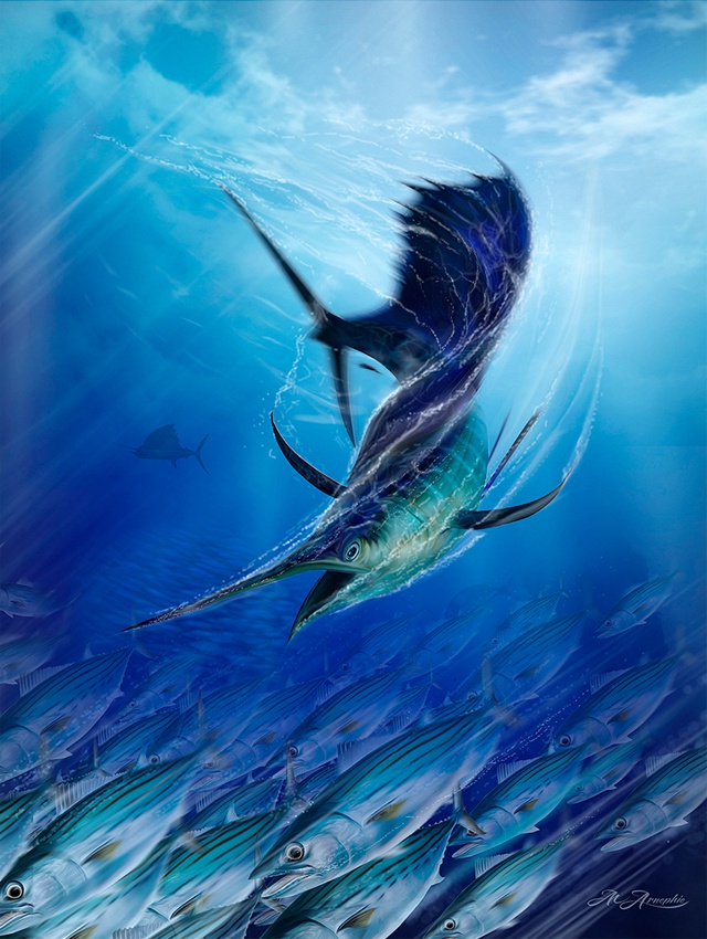 Seychelles artist and sports fisherman in tight race to win international marlin art reader's choice competition