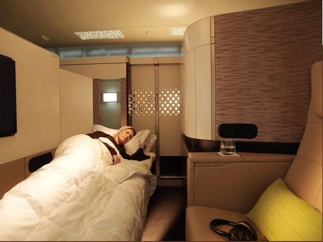 A bed in the clouds! Etihad scoops top design award for luxury first class apartment
