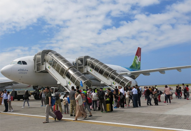 Air Seychelles fly in Chinese tourists to spend the spring holidays in the Indian Ocean archipelago