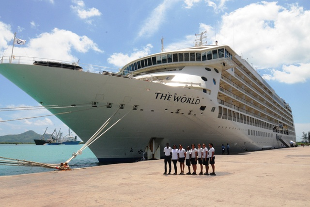 'The World' at their feet - luxury cruise ship arrives in Seychelles