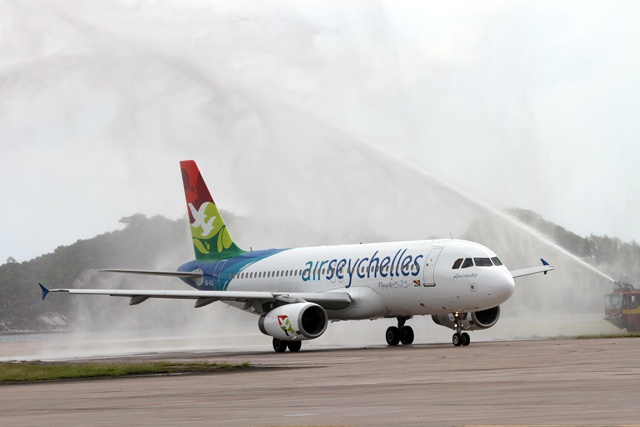 A new Airbus A320 as Air Seychelles increases flight frequencies to regional destinations