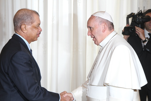 An inviting prospect: President James Michel urges Pope Francis to visit Seychelles