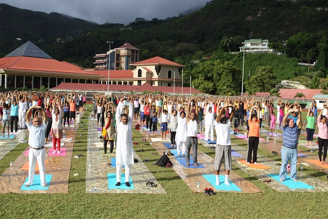 Seychelles contributes to world record set on first International Day of Yoga