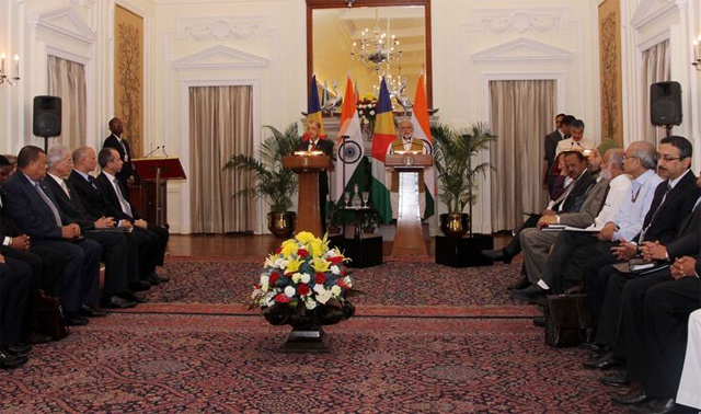 New and emerging areas of cooperation explored as the Seychelles President addressed business meeting in India