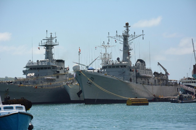Three Indian naval ships in Port Victoria joining Seychelles India Day celebrations ahead of EEZ surveillance and training
