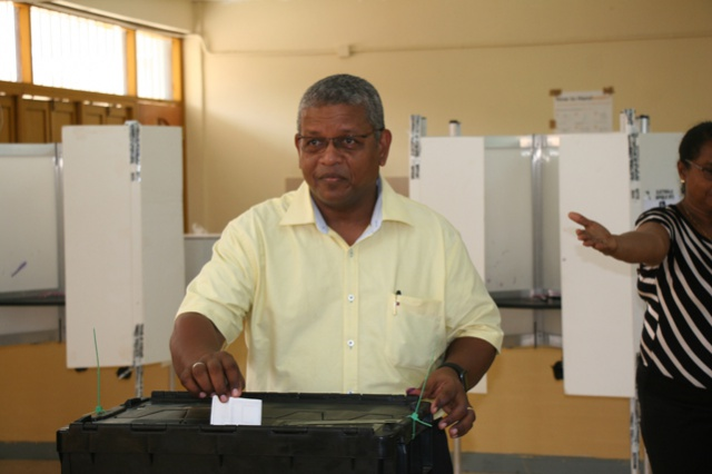 Seychelles run-off presidential election: SNP leader Wavel Ramkalawan casts vote at St Louis