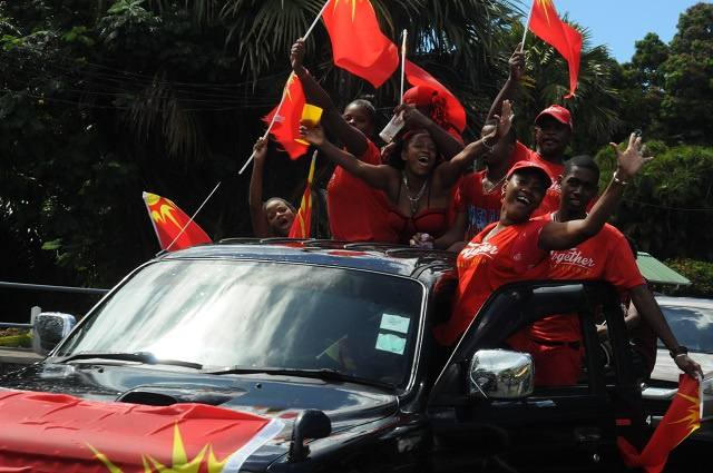 Seychelles 'Parti Lepep' celebrates election victory - Electoral Commission to meet Monday as opposition rejects results