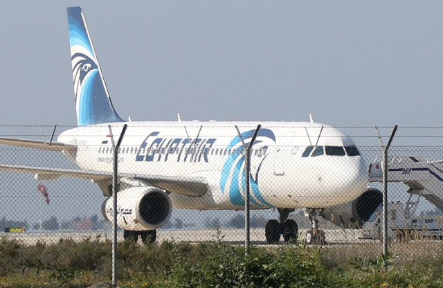Hijacked Egyptian airliner lands in Cyprus: police