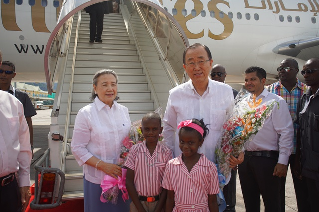 UN Secretary-General Ban Ki-moon arrives in Seychelles