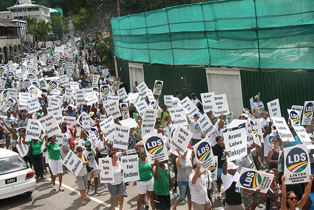Seychelles' opposition coalition 'LDS' holds protest march, calls for free and fair elections