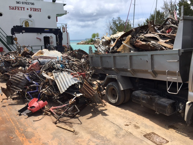 Seychelles island of La Digue gets rid of scrap metals collected over a year
