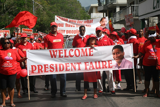Parti Lepep holds march in support of new Seychelles president