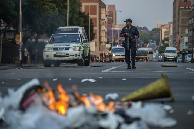 S.African police block student march to Zuma's office