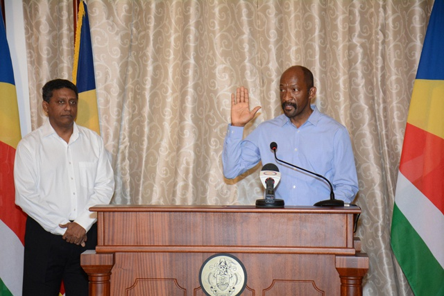 Seychelles' new Vice President Meriton sworn in to office, says there's work to be done