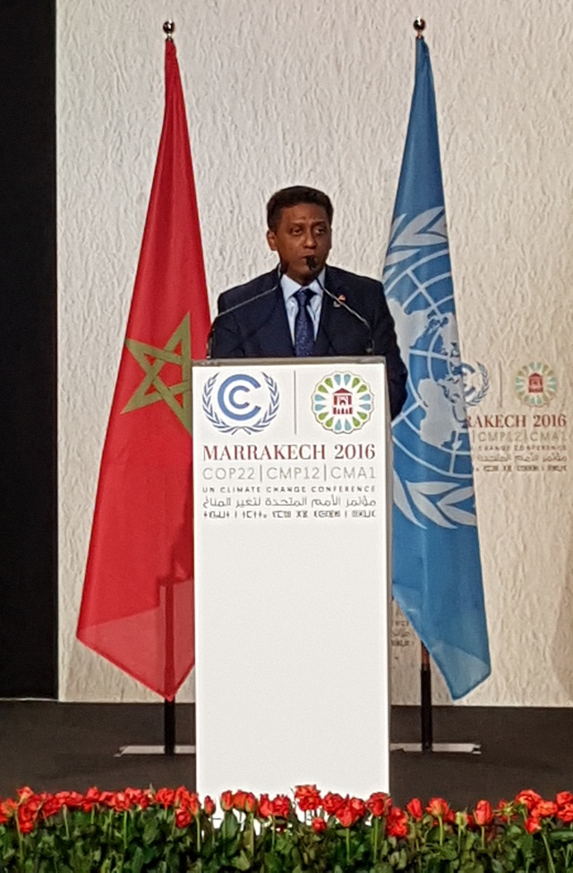 Seychelles President Faure calls for implementation of climate accord at environment meeting in Morocco