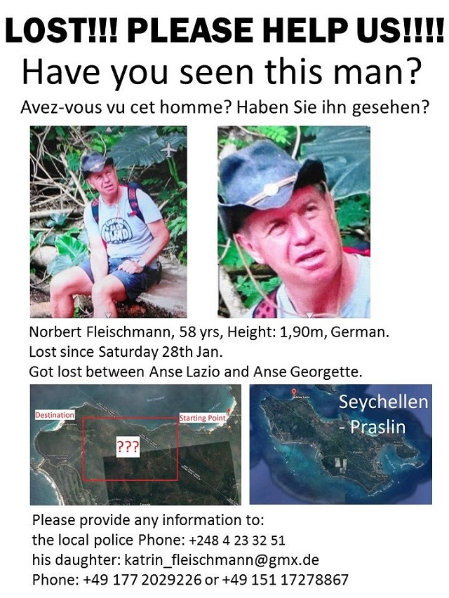 Search in Seychelles for missing German man called off at sea, continues on land