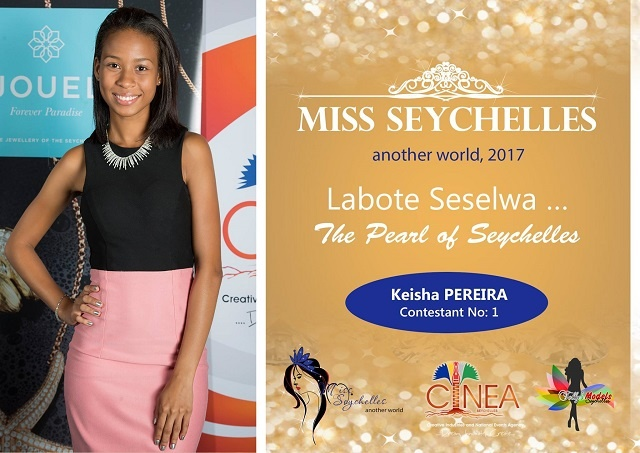 Contestant Keshia Pereira in Miss Seychelles beauty pageant to promote the blue economy