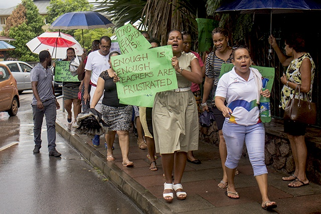 Seychellois teachers march in protest of attack on colleague