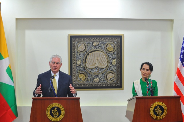 Tillerson in Myanmar to press Suu Kyi and army on Rohingya