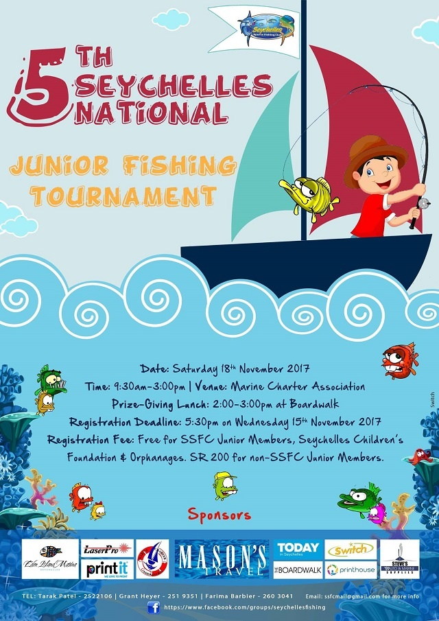 Seychellois children to fish during a national junior tournament