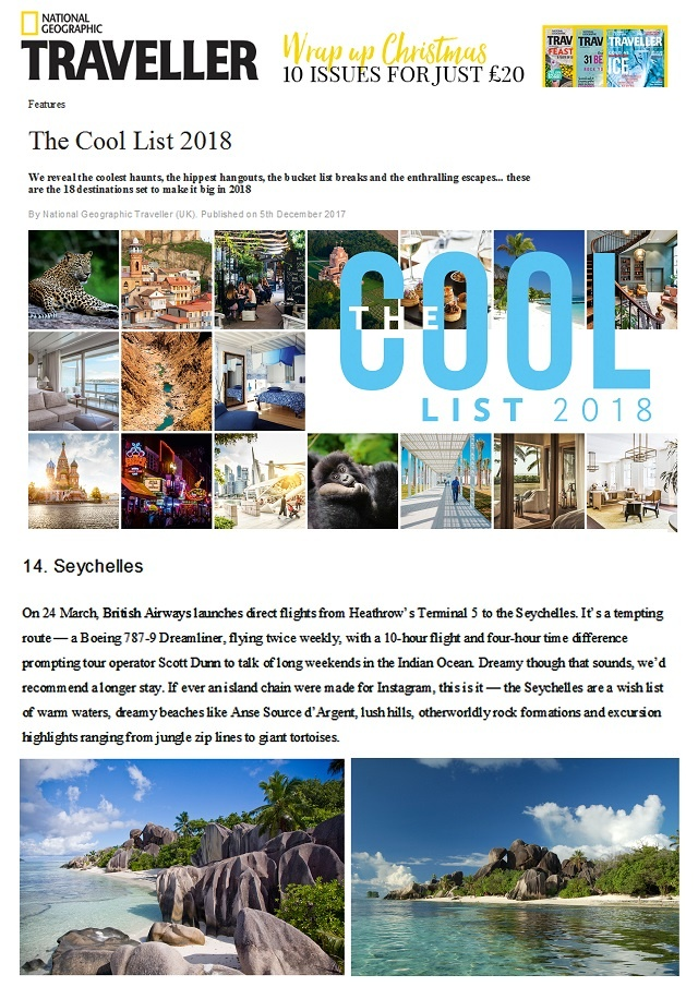"Seychelles makes 'Cool List"" of destinations by National Geographic Traveller magazine"