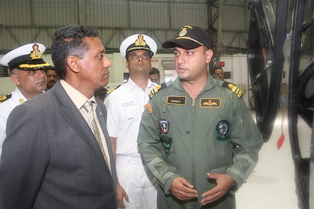 President of Seychelles takes a military base tour in Goa, India