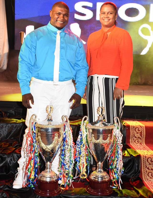 Agnes, a boxer, and Camille, a badminton player, are named Seychelles' sports champions of 2018