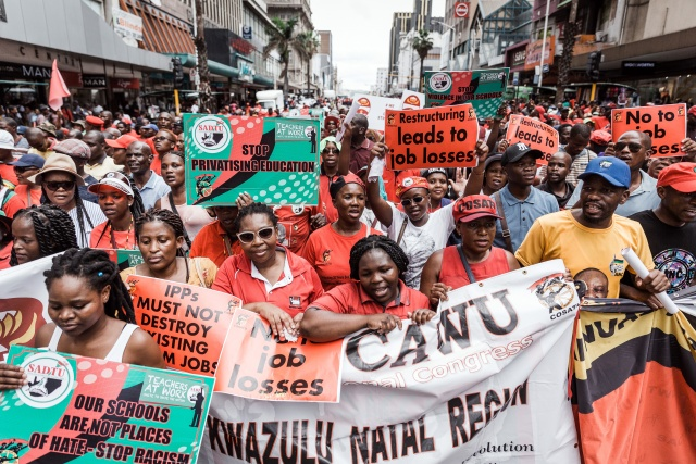 Thousands protest against job losses in South Africa