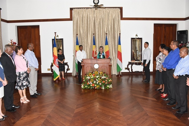 Members of the Seychelles Human Rights Commission are sworn in