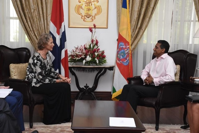 Blue Economy, health discussed as Seychelles' president greets Norway, Malta ambassadors