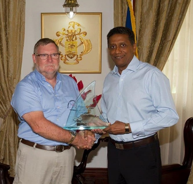 Seychelles' president receives Shark Research Institute award for protection of marine areas