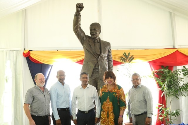 Nelson Mandela statue unveiled in Seychelles' Peace Park on South African icon's birthday