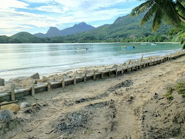 Climate change-induced flooding forces seawall in Seychelles to be rebuilt
