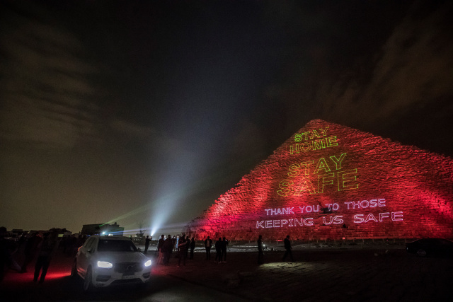 Great Pyramid in Egypt lights up in solidarity against virus