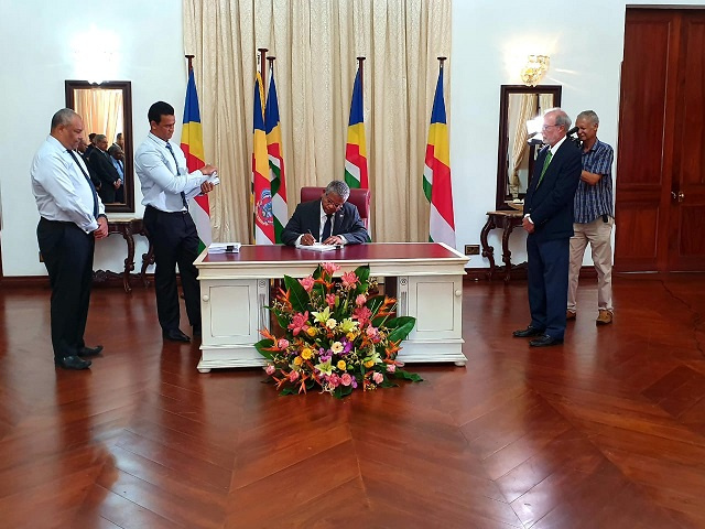 President of Seychelles signs updated Civil Code in first legislation since taking office