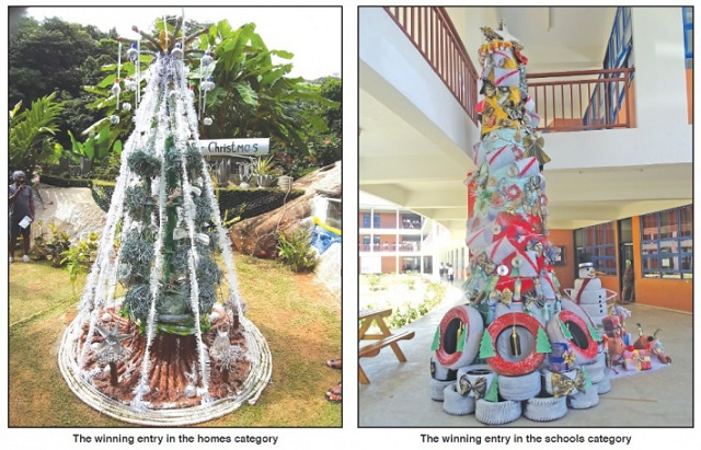 Competition's creative Christmas trees make for sustainable Seychellois holiday