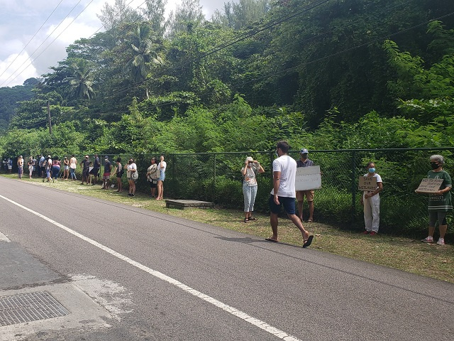 Residents of Seychelles' Anse La Mouche subdistrict protest new hotel development,