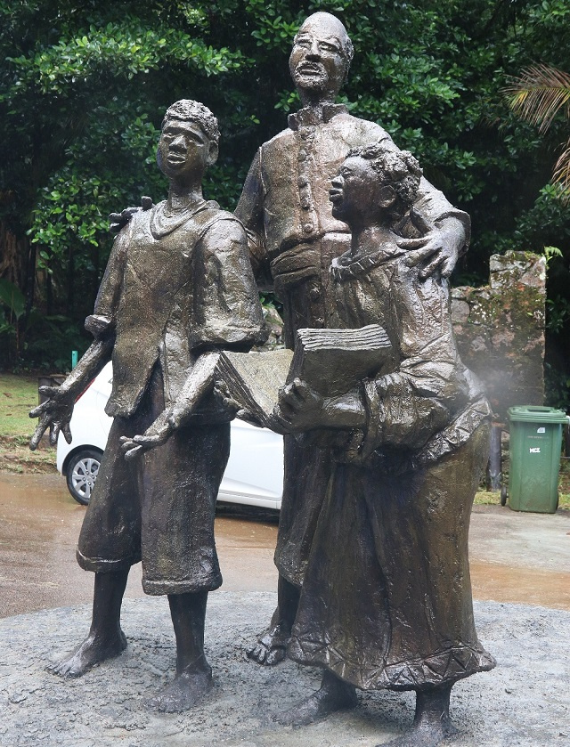 Statue of liberated slaved children unveiled at Venn's Town, the cradle of Seychelles