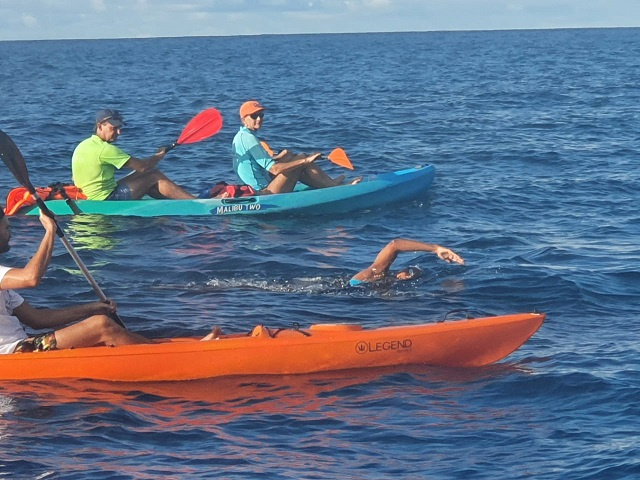 Battling waves for charity, Seychellois Olympian swims between islands