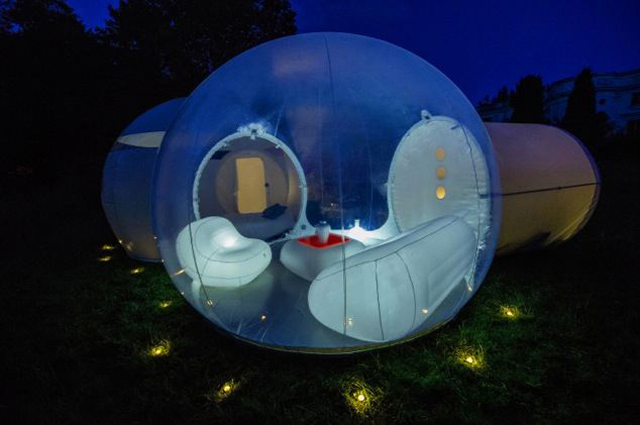 One of the bubble with a separate living room and bedroom pictured at nightfall (Casabubble.com) Photo License All Rights Reserved. u201c & Floating in a bubble u2013 enjoy camping under the stars in your own ...