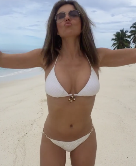 7da920a098f Hurley launched her own beachwear in 2005. (Elizabeth Hurley/Instagram)  Photo License: CC-BY